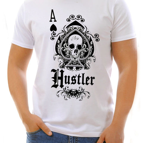 Image of Men's Officially Licensed Hustler HST-660 'Hustler Ace of Spades' White T-Shirt