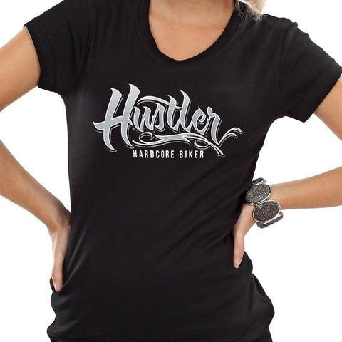 Image of Ladies Officially Licensed Hustler HST-710 'Hustler Hardcore' Black Tee