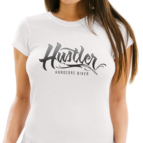 Image of Ladies Officially Licensed Hustler HST-710 'Hustler Hardcore' White Tee
