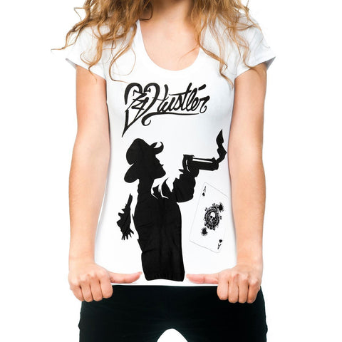 Image of Ladies Officially Licensed Hustler HST-730 'Hustler Gambler' White Tee