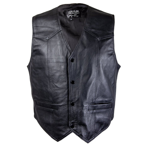Image of Officially Licensed Hustler Men's 'Born to Ride' Classic Leather Vest with Skull Embroidery