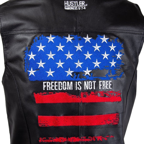 Officially Licensed Hustler HSVT-210 Men's 'Freedom is Not Free' Embroidered Distressed USA Flag Leather Vest