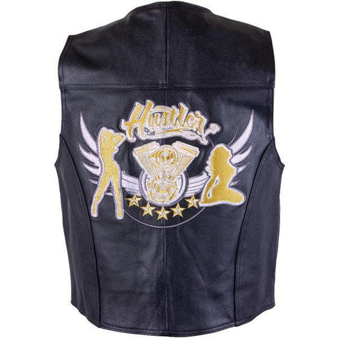 Officially Licensed Hustler Men's 'Girls V-Twin ' Classic Leather Vest