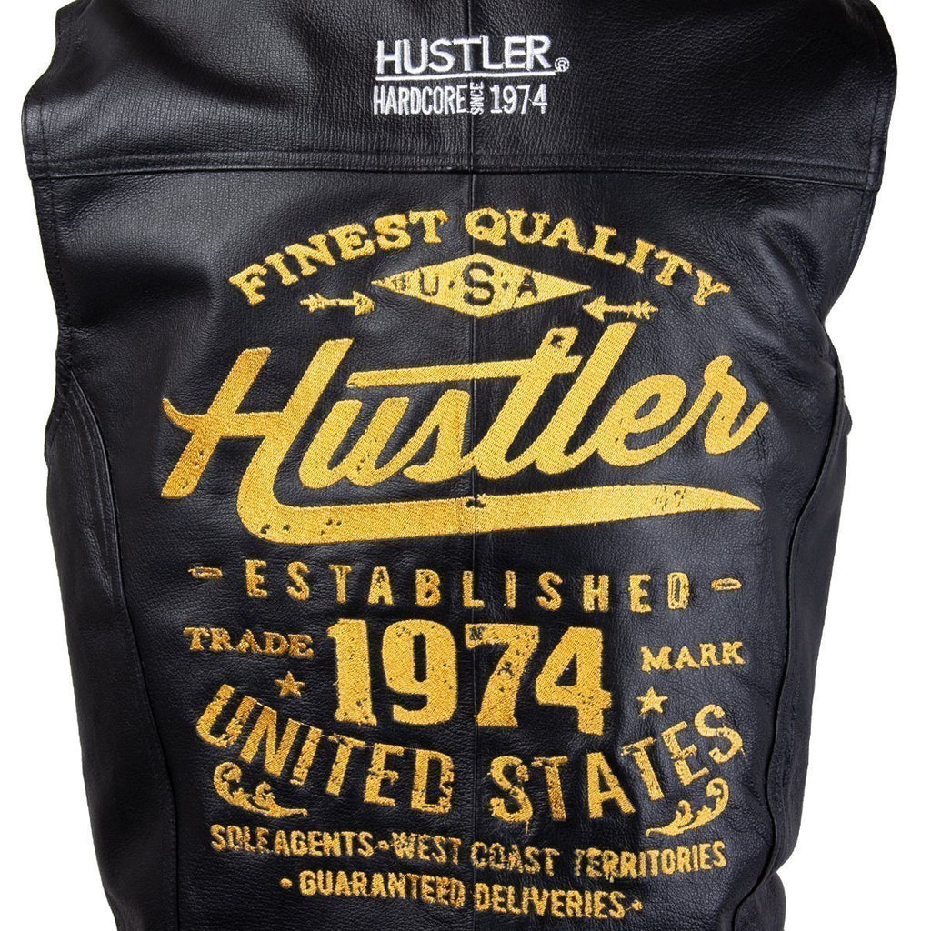Officially Licensed Hustler Men's 'Finest Quality  Established 1974' Classic Leather Vest