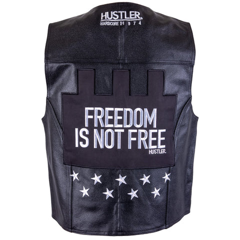 Officially Licensed Hustler Men's 'Freedom is Not Free'' Classic Leather Vest