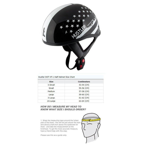 Hustler DOT HT-1 Black and White Mono Hustler Flag Glossy Skull Cap Helmet