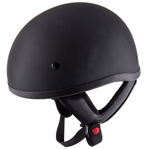 Hustler DOT HT-1 Solid Flat Black Skull Cap Helmet with Hustler Logo On Back