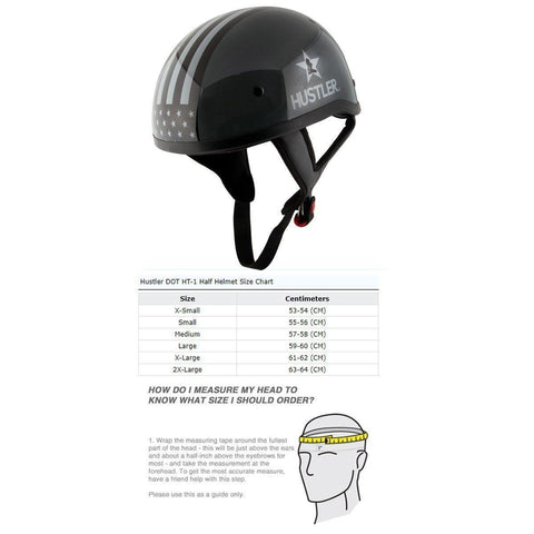 Image of Hustler DOT HT-1  Freedom Is Not Free Glossy Dark Gray Skull Cap Helmet