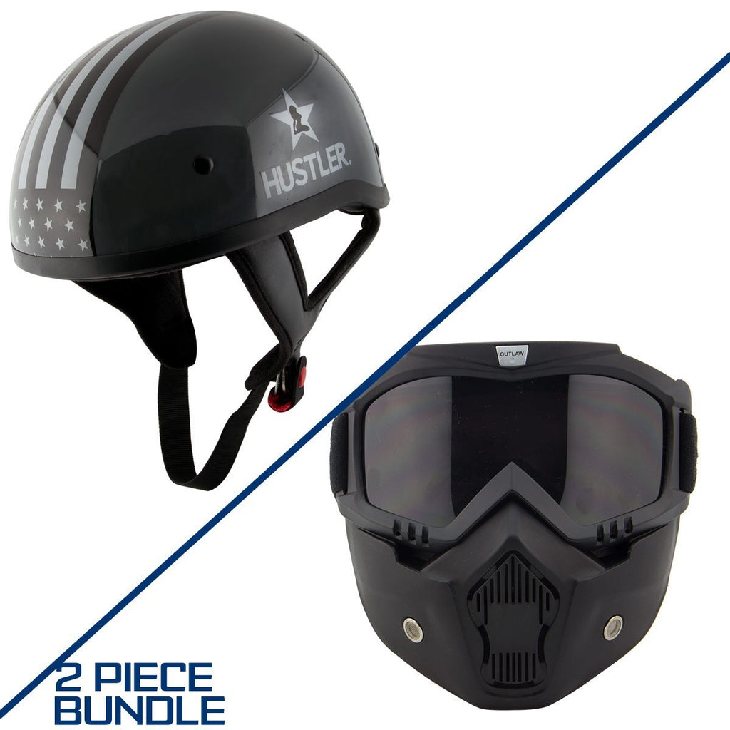 Hustler HT-1 Freedom Is Not Free Glossy Dark Gray and White Helmet with Outlaw 50 'Nemesis' Vintage Face Mask