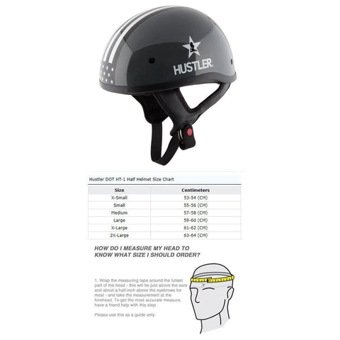 Hustler DOT HT-1  Freedom Is Not Free Glossy Dark Gray and White Skull Cap Helmet