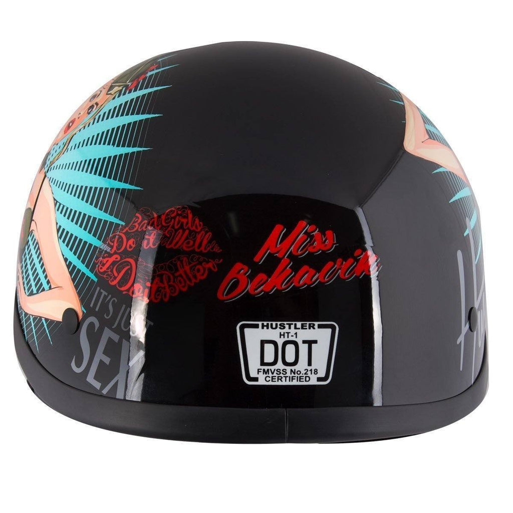 Hustler DOT HT-1 'It's Just Sex' Black Glossy Motorcycle Skull Cap Half Helmet