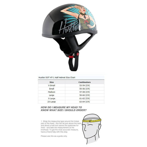 Image of Hustler DOT HT-1 'It's Just Sex' Black Glossy Motorcycle Skull Cap Half Helmet