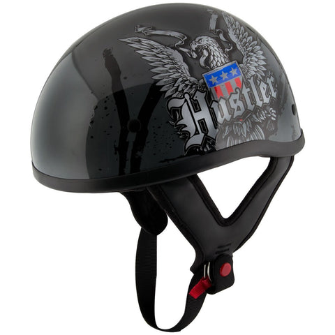 Hustler DOT HT-1 Ride Hard Dark Gray Glossy Skull Cap Helmet