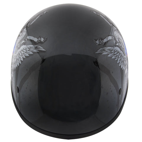 Image of Hustler DOT HT-1 Ride Hard Dark Gray Glossy Skull Cap Helmet