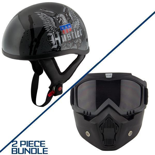Hustler DOT HT-1 Ride Hard Dark Gray Glossy Skull Cap Helmet with Outlaw 50 'Nemesis' Vintage Face Mask