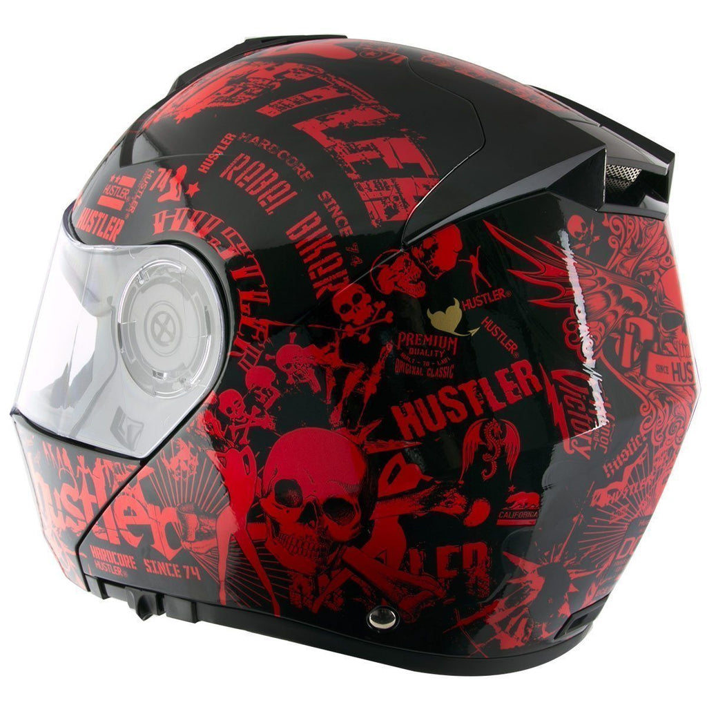 Hustler HT-65 'Hardcore' Gloss Black and Red Modular Motorcycle Helmet with Drop Down Visor
