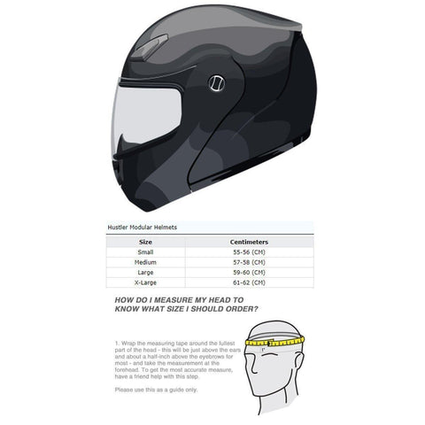 Hustler HT-65 'Hardcore' Gloss Black and White Modular Motorcycle Helmet with Drop Down Visor