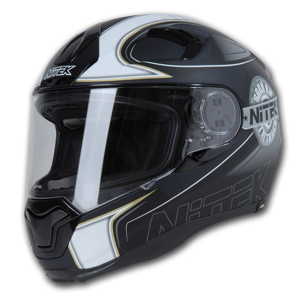 Nitek Interceptor Flat Black Ace Face Motorcycle Street Helmet
