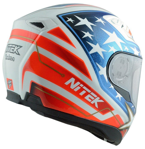 Nitek Interceptor Yankee Glossy White Full Face Motorcycle Street Helmet