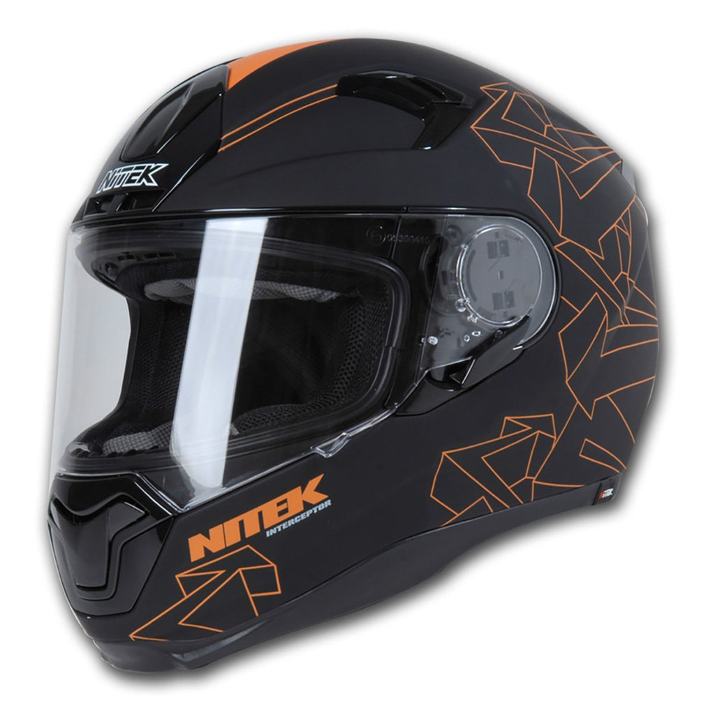 Nitek Interceptor Flat Black Orange Arrow Full Face Motorcycle Street Helmet