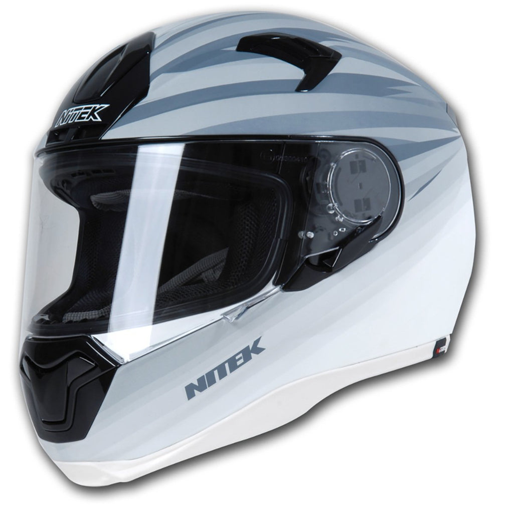 Nitek Interceptor Flat White Thunder Face Motorcycle Street Helmet