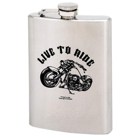 Image of LIVE TO RIDE 8 oz. Stainless Steel Flask
