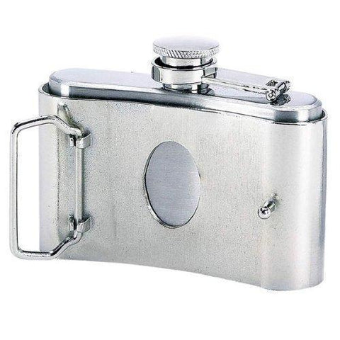 Image of 3 oz. Stainless Steel Belt Buckle Flask