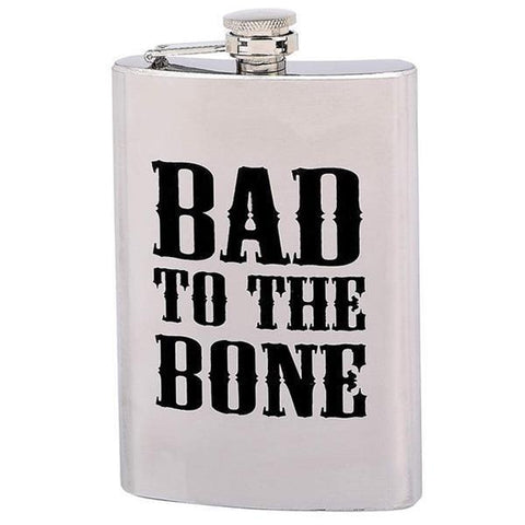 Image of BAD TO THE BONE 8 oz. Stainless Steel Flask