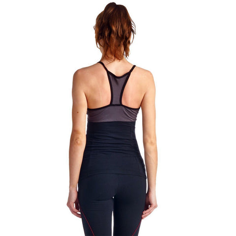 Image of LA Society Women's Yoga Fitness 3 Piece Grey/Black/Red Work Out Suit
