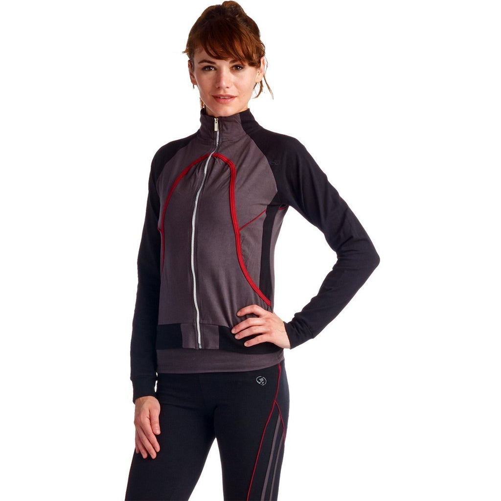LA Society Women's Yoga Fitness 3 Piece Grey/Black/Red Work Out Suit