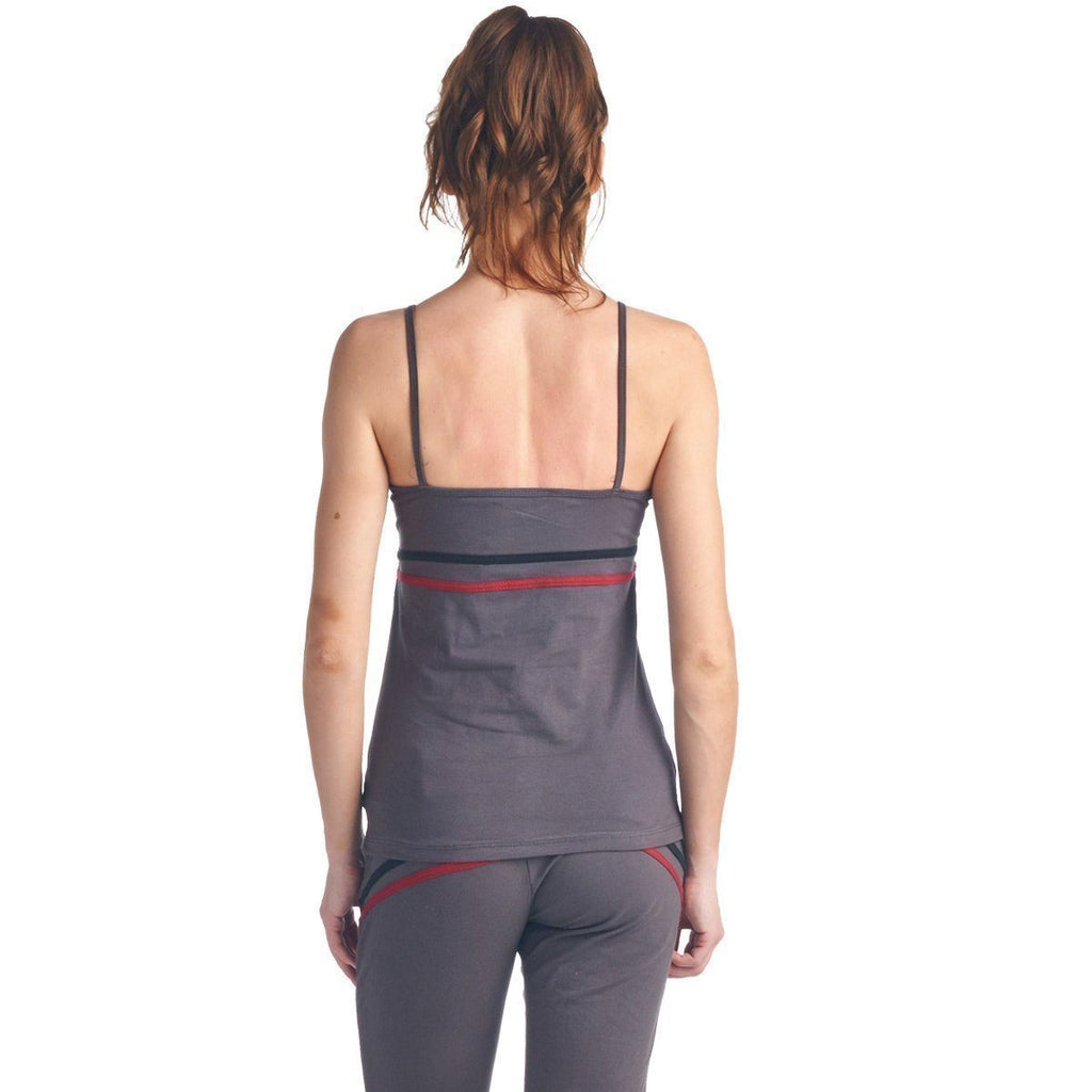 LA Society Women's Yoga Fitness 3 Piece Grey/Burgundy/Black Work Out Suit