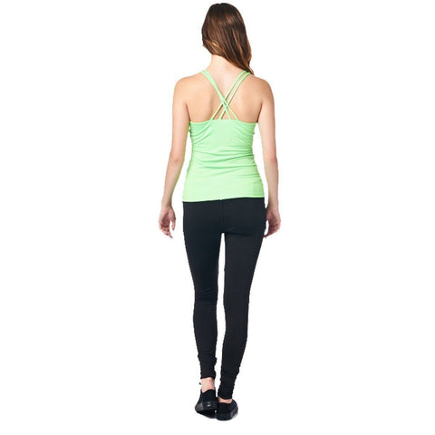 Image of LA Society Women's Yoga Fitness Green/Black Sleeveless Tank Top and Yoga Legging Pants
