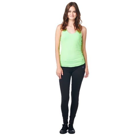 LA Society Women's Yoga Fitness Green/Black Sleeveless Tank Top and Yoga Legging Pants