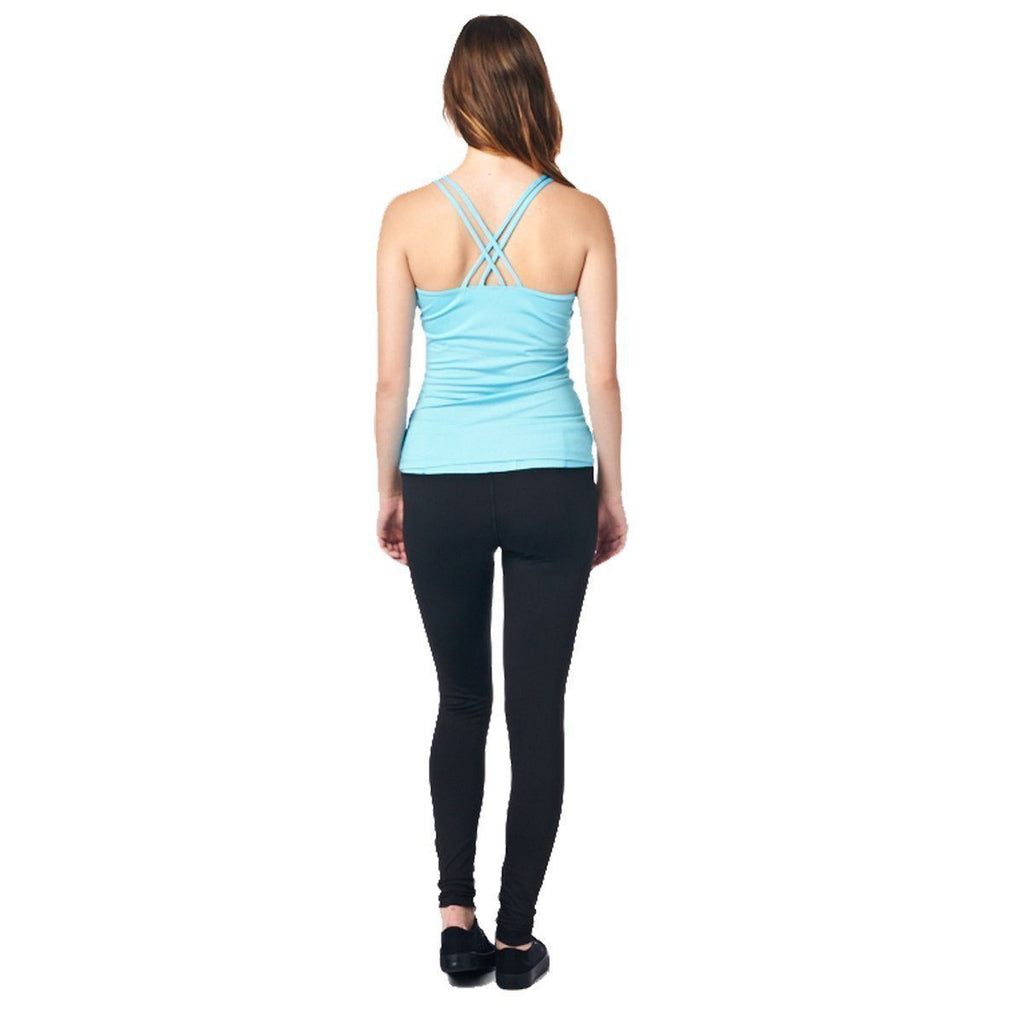 LA Society Women's Yoga Fitness Turquoise/Black Sleeveless Tank Top and Yoga Legging Pants