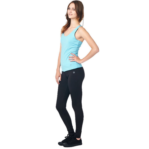 Image of LA Society Women's Yoga Fitness Turquoise/Black Sleeveless Tank Top and Yoga Legging Pants
