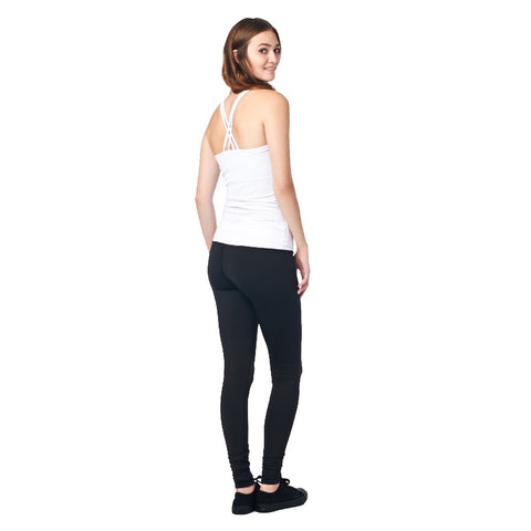 LA Society Women's Yoga Fitness White/Black Sleeveless Tank Top and Yoga Legging Pants