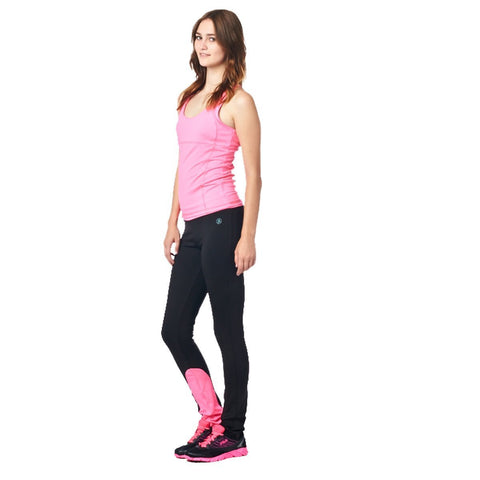 LA Society Women's Yoga Fitness Pink/Black Racerback Sleeveless Tank Top and Yoga Legging Pants