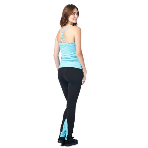 Image of LA Society Women's Yoga Fitness Turquoise/Black Racerback Sleeveless Tank Top and Yoga Legging Pants