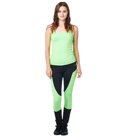 LA Society Women's Yoga Fitness Green/Black Racerback Sleeveless Tank Top and Yoga Legging Pants