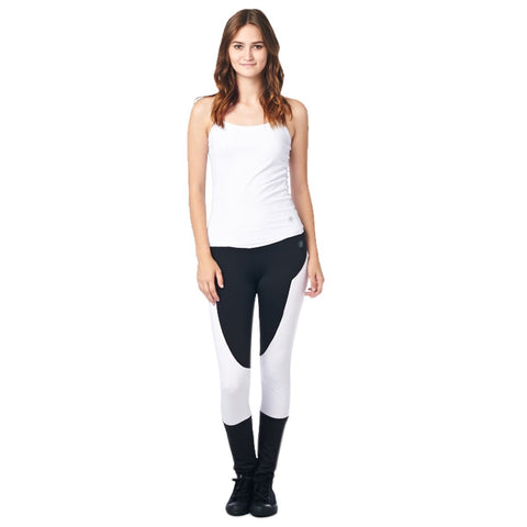 Image of LA Society Women's Yoga Fitness White/Black Racerback Sleeveless Tank Top and Yoga Legging Pants