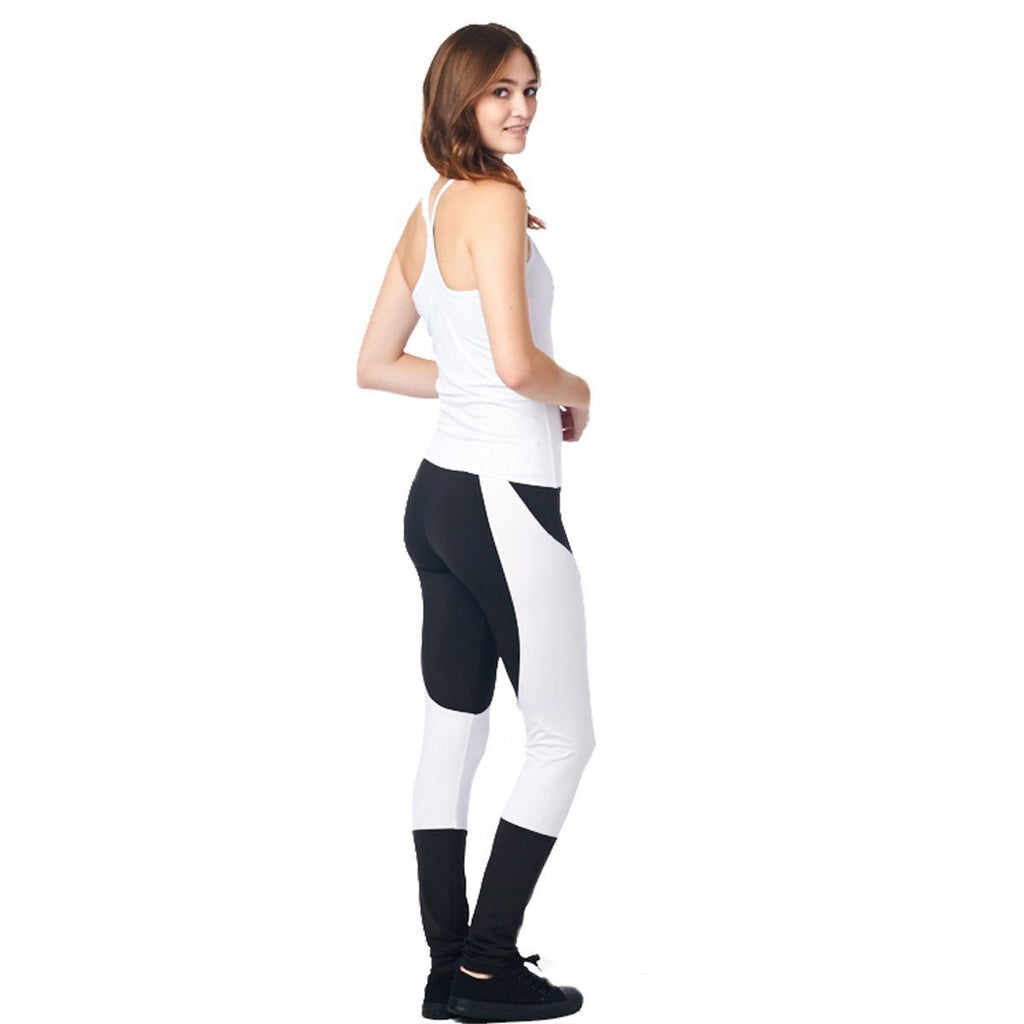 LA Society Women's Yoga Fitness White/Black Racerback Sleeveless Tank Top and Yoga Legging Pants