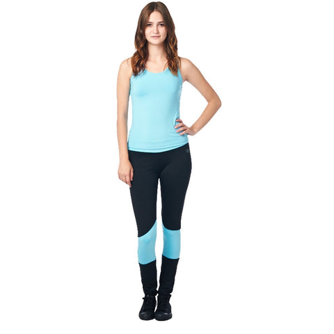 LA Society Women's Yoga Fitness Turquoise/Black Racerback Sleeveless Tank Top and Yoga Legging Pants