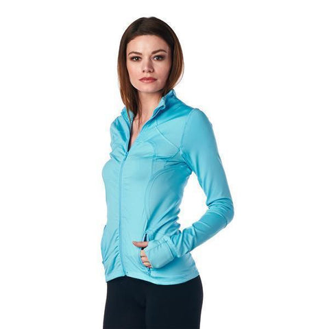 Image of LA Society Women's Yoga Sport Fitness Jacket in Turquoise