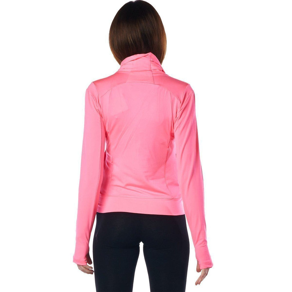 LA Society Women's Pink Yoga Sport Fitness Running  Wrap Zipper Design Jacket