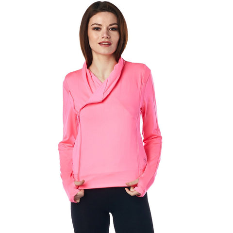Image of LA Society Women's Pink Yoga Sport Fitness Running  Wrap Zipper Design Jacket
