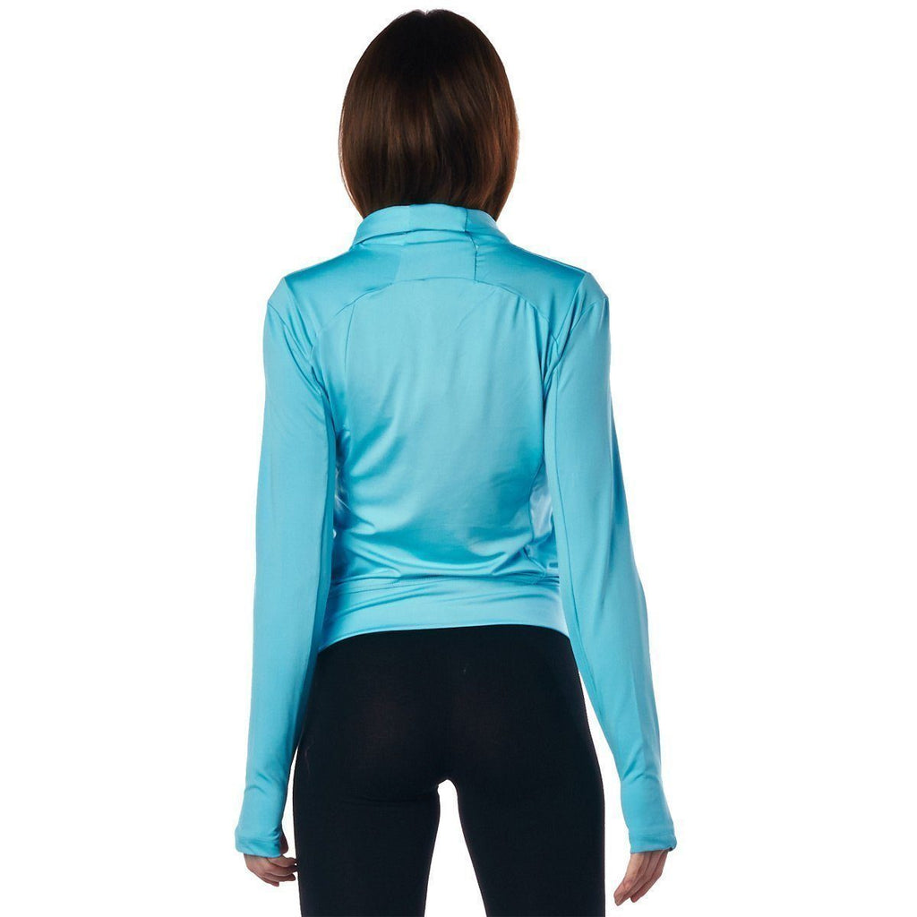LA Society Women's Turquoise Yoga Sport Fitness Running  Wrap Zipper Design Jacket