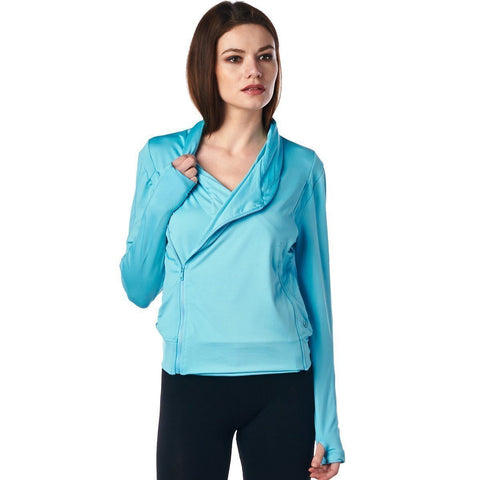 Image of LA Society Women's Turquoise Yoga Sport Fitness Running  Wrap Zipper Design Jacket