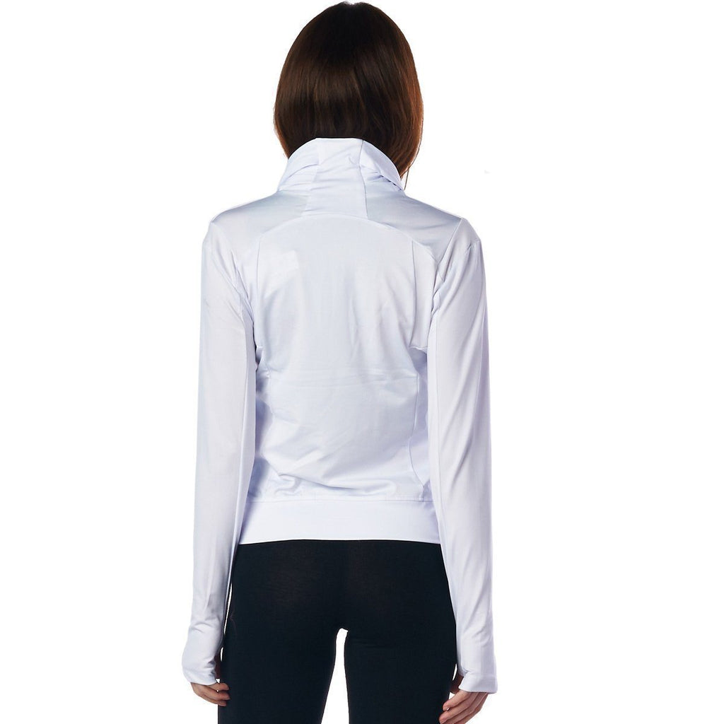 LA Society Women's White Yoga Sport Fitness Running  Wrap Zipper Design Jacket