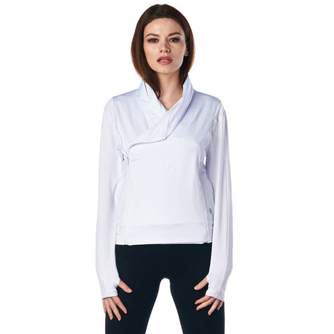 Image of LA Society Women's White Yoga Sport Fitness Running  Wrap Zipper Design Jacket
