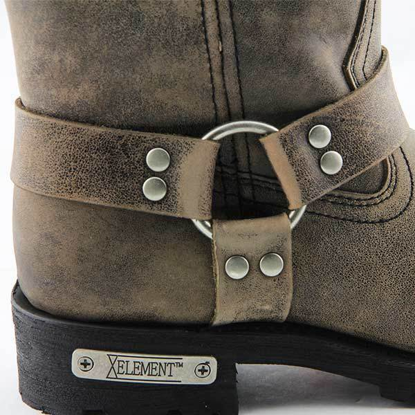 Xelement LU1604 Men's 13in Stone Wash Brown Leather Harness Motorcycle Boots